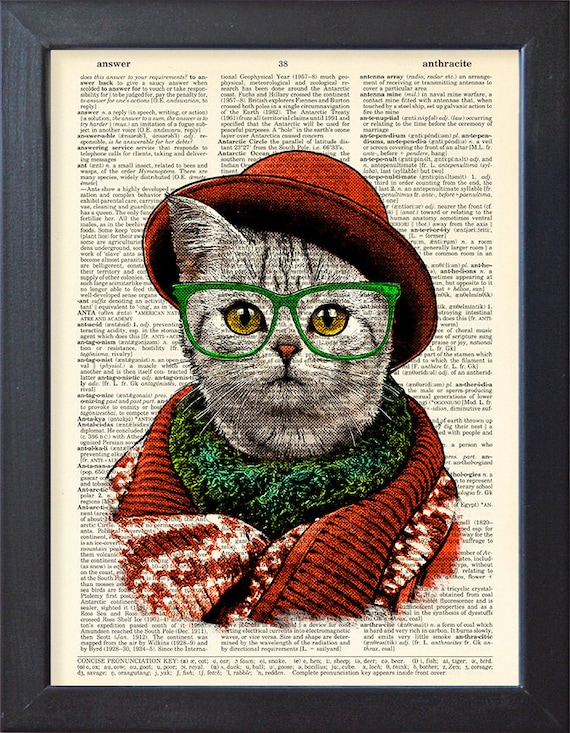 Cat funny print Fancy Cat in a hat Dictionary page Dressed   Etsy