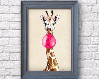 Giraffe art print, bubblegum, artwork, poster for nursery child, Natalprint.