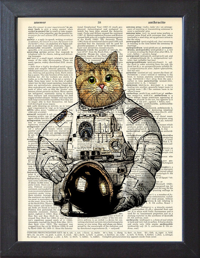 5038c060c48e4a Cat astronaut Art Print Poster Space suit upcycled