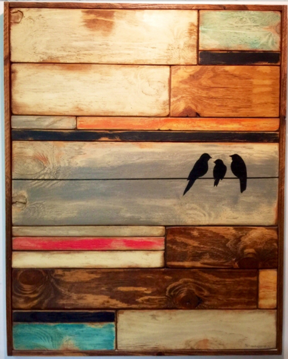 Large Reclaimed Wood Wall Arthome Decor Birds On