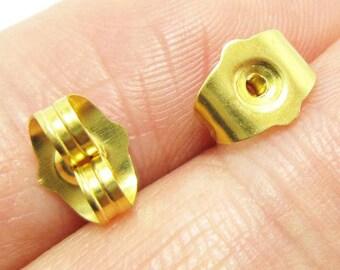 lead free and cadmium free Gold earring back stopper butterfly hypoallergenic 5mm Nickel free 10 Grade AAA brass ear nuts