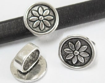 5pcs Lotus disc spacer Licorice leather findings Licorice bracelet slider