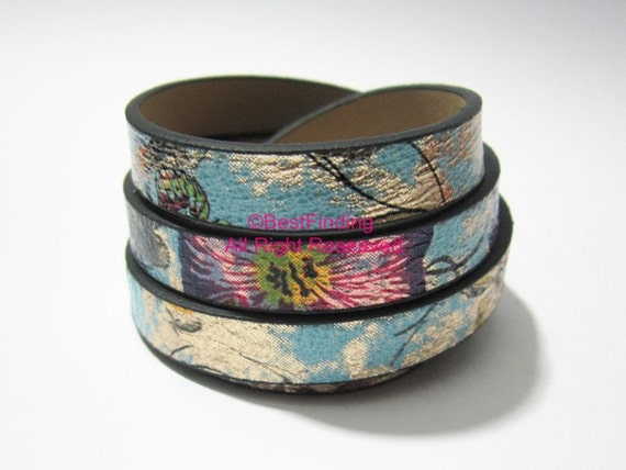 Flat leather 10x2mm Ethnic leather cord 10mm Turquoise mixexd Flat leather cord S1116