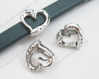 10pcs Licorice bracelet findings Hollow heart beads licorice leather findings