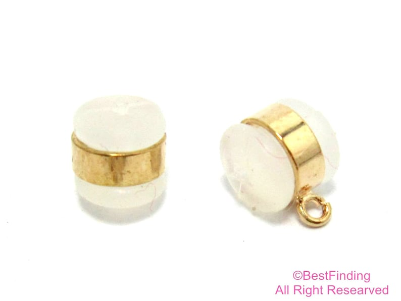 6pc Ear backs Silicone earplug with loop Real 18K Gold plated Gold ear nuts plug Earnuts