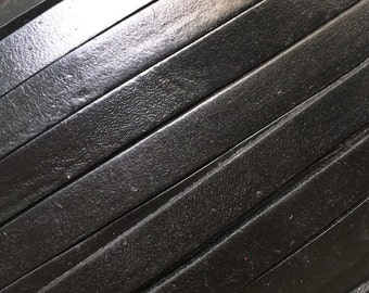 10mm Genuine leather cord 10x2mm Flat leather Black leather wrap strip