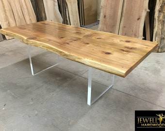 Custom Table with Plexi-GLass Base (You Choose Wood)