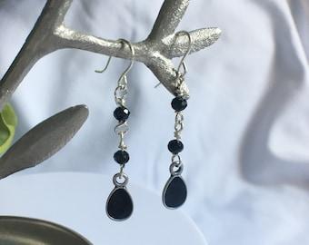 Earrings, Dangle Earrings, Drop Earrings, Beaded Earrings, Black Crystal Earrings, Enamel Earrings
