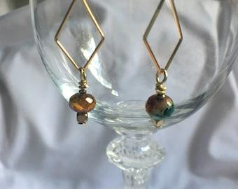 Earrings, Dangle Earrings, Drop Earrings, Beaded Earrings, Triangle earrings, Czech glass earrings