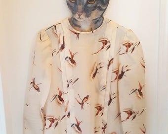 Handmade Cream Pheasant Print Blouse with Pleats