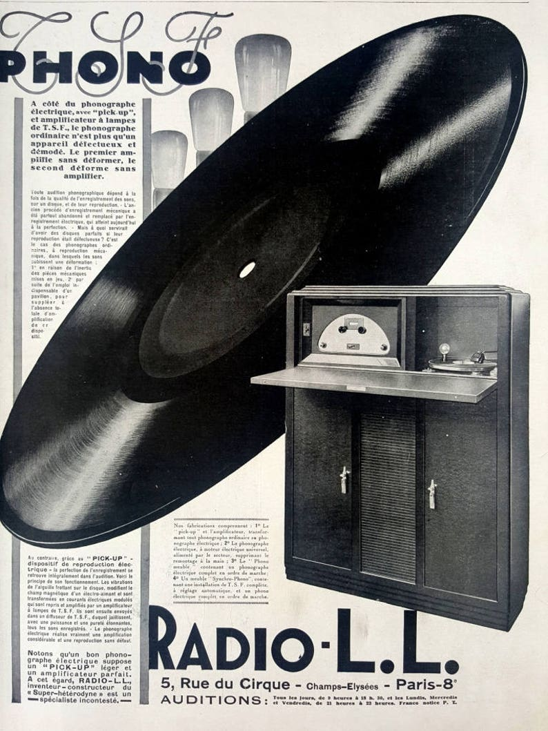 TSF phono radio LL, electric phonograph memorabilia vintage ad, 1928  original French magazine ad, radio music poster, old illustration print
