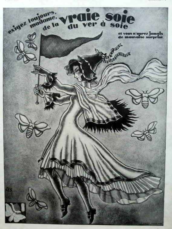 detailed look 446e3 f8144 Pure silk ad Soie Naturelle vintage advertising, silk fabric ad vintage  poster 1930, silkworm butterfly ad, original art deco advertisement