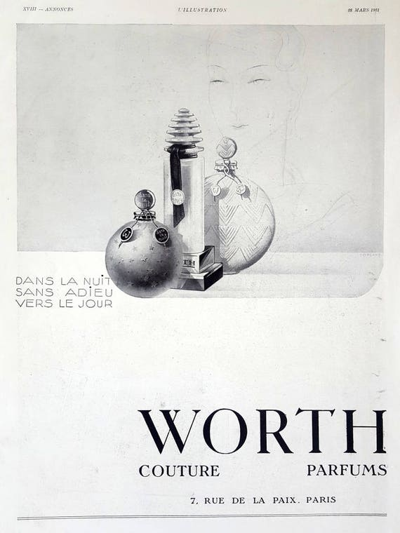 Worth Couture Parfum poster French perfume vintage ad 1931 | Etsy