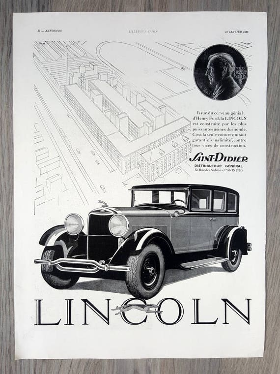 Lincoln Cars Poster French Magazine Vintage Advertising Etsy