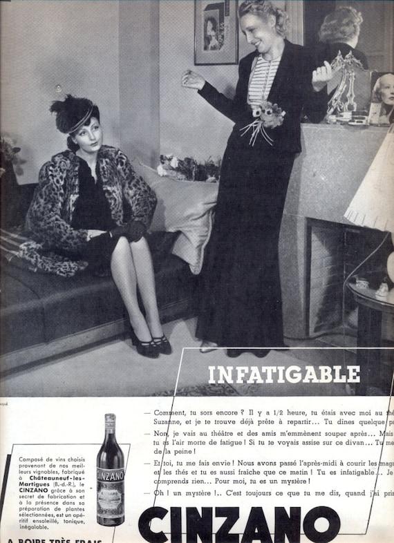 6240e75d032b9 CINZANO vintage advertising 1939 French magazine ad aperitif | Etsy