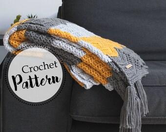 Schema uncinetto coperta Arya || schema uncinetto coperta chevron || schema coperta invernale || coperta con frange || schema coperta lana