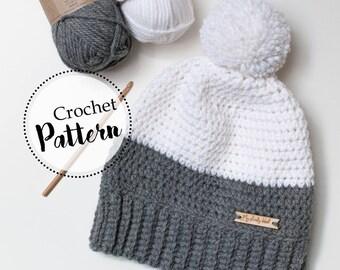 Schema uncinetto berretto bicolore || schema cappello adulti || cappello lana ad uncinetto || berretto morbido con pom pom