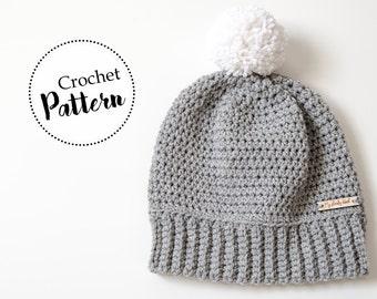 Berretto uncinetto Erin || cappello adulti || PDF PATTERN || schema berretto uncinetto || berretto con pom pom || berretto di lana || unisex