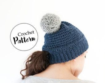 Schema uncinetto berretto per coda di cavallo || schema cappello uncinetto || schema cappello di lana || berretto donna con pom pom