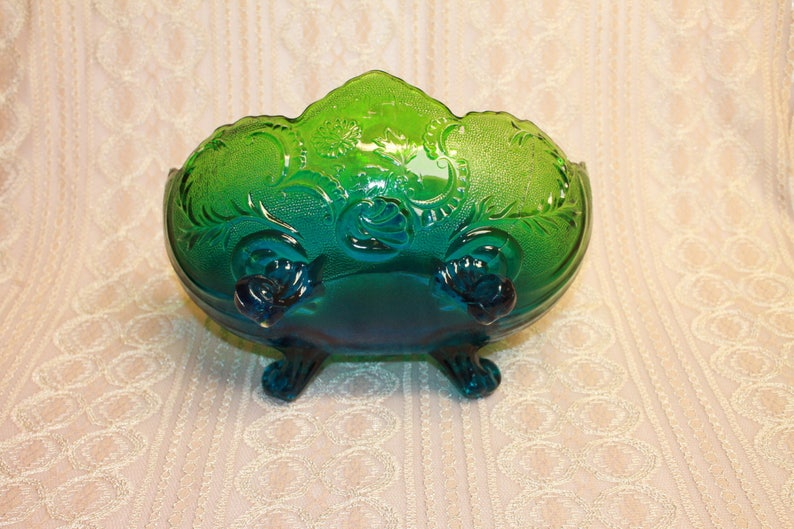 Vintage Jeannette Carnival Glass Blue Green Footed Fruit Bowl Home decor