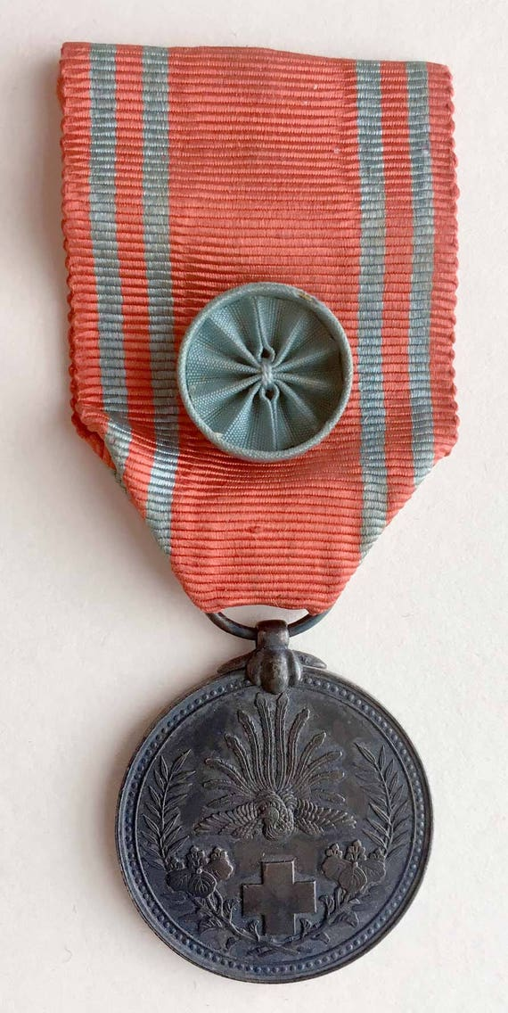 Early WWII, Life Member of Japanese Red Cross Medal, Silver w/ Blue Rosette