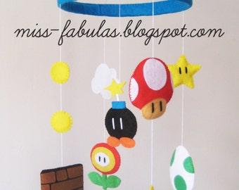 SUPER MARIO BROS decorative baby cot cradle crib mobile felt mushroom Yoshi egg bomb flower - Super Mario mobile decortative baby cradle