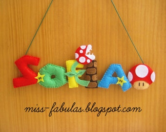 SUPER MARIO BROS Felt Name Banner for baby mushroom stars chimney Poster baby room name