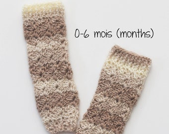 Baby Legwarmers, crochet sock, hook, accessory 3 seasons, size 0-6 months. Ready to ship!