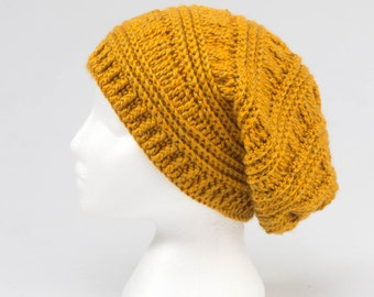 Order on request. Slouchy hat, crochet, men, teen or woman, decorative accessorie, yellow mustard color.