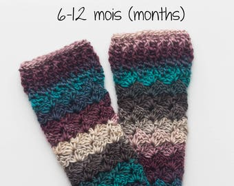 Legwarmers, baby, crochet sock, hook, accessory, Bricotricot Creation, size 6-12 months. Ready to ship!