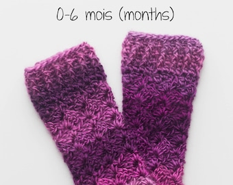 Crochet, baby Legwarmers, crochet sock, hook, accessory, Bricotricot Creation, size 0-6 months. Ready to ship!