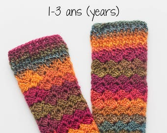 Crochet, legwarmers, child, crochet sock, hook, accessory, Bricotricot Creation, size 1-3 years. Ready to ship!