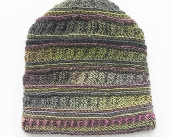Slouchy, crochet, hat, child (4-7 years) gradient purple/green, spring-fall accessory. Ready to ship!