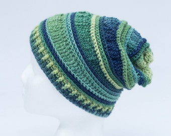 Slouchy, crochet, hat, child (4-7 years) gradient blue/green, fall accessory. Ready to ship!