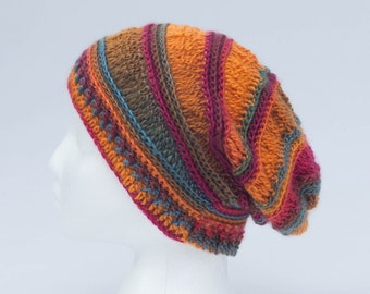 Crochet, Slouchy, hat, teen, woman or men, fall accessory. Ready to ship!