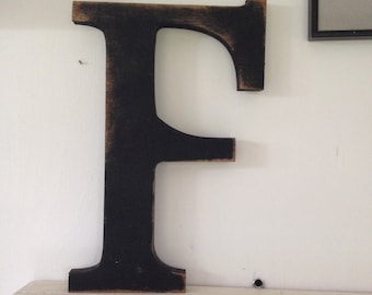 18 inch cutout letters,Individual Wood letters,shabby chic letter, antiqued letter, aged wood letter, cutout letter, large wood letters.