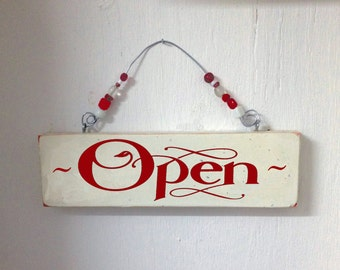Open-Closed sign, 2 sided Wood Sign, antiqued entry sign, decoupage entry sign, open sign, closed sign, sign with bead handle.