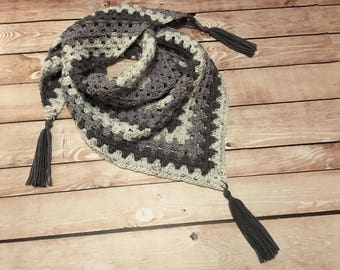 Triangle Scarf, Crochet Triangle Scarf, Tassel Scarf, Gray Charcoal White Ombre Scarf, Ladies Gift, Womens Gift, Teen Gift, Birthday Gift