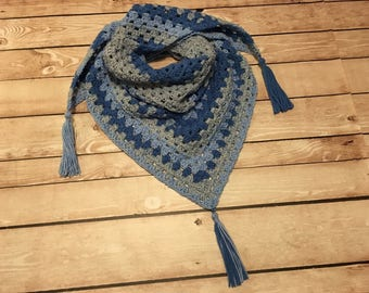 Triangle Scarf, Crochet Triangle Scarf, Tassel Scarf, Royal Gray Blue Ombre Scarf, Ladies Gift, Womens Gift, Teen Gift, Birthday Gift