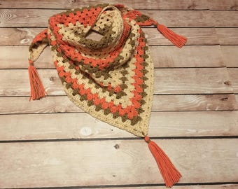 Triangle Scarf, Crochet Triangle Scarf, Tassel Scarf, Coral Tan Off White Ombre Scarf, Ladies Gift, Womens Gift, Teen Gift, Birthday Gift