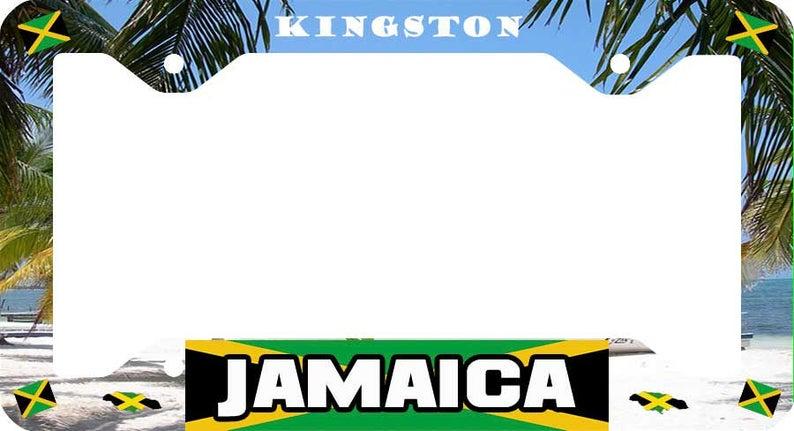 Camouflage Island Jamaica License Plate Frame Aluminum Car Auto Holder