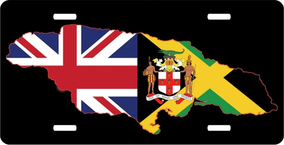 British Jamaican Map Novelty License Plate Tag