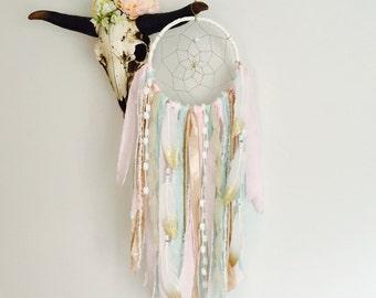 Pink and Gold Dream Catcher, Dreamcatcher, Wall Hanging Dreamcatcher, Bohemian, Girl Nursery Decor, Tapestry, Boho Decor, Boho Girl Nursery
