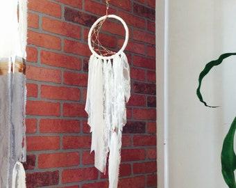 White Crescent Moon Dreamcatcher Wall Hanging, Rose Gold Dream Catcher Tapestry, Bohemian Desert Wedding, Nursery Decor, Baby Shower
