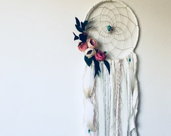 Floral Dream Catcher Wall Hanging Tapestry, Large White Dream Catcher with Flowers, Bohemian Chic Nursery Decor, Woodland Theme Wedding
