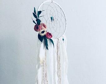 Large White Flower Dream Catcher, Dreamcatcher Wall Hanging Tapestry, Hygge Decor, Bohemian Dream Catcher, Boho Style, Floral Dream Catcher