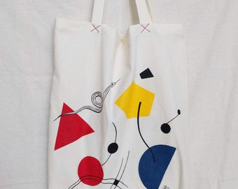 Art shopper XL tote bag 100% cotton, reusable, with original hand drawn illustration