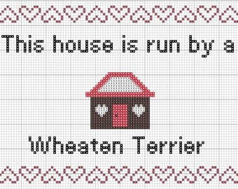 Wheaten Terrier Dog Portrait Counted Cross Stitch Pattern