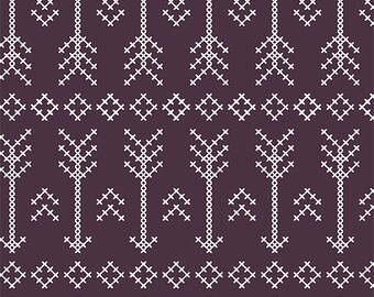 Stitched Arrow in Plum KNIT, Modern Reflection Collection, BOLT by Girl Charlee, Made in USA, Cotton Jersey Knit Fabric 5626