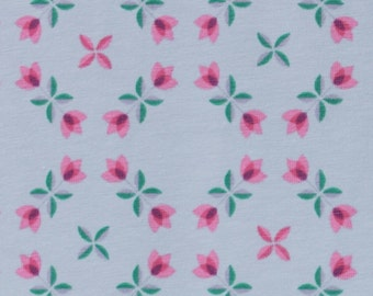 Floral Trellis in Aqua KNIT by Stenzo Textiles, Premium Euro Cotton - Spandex Jersey Knit, Netherlands 5521